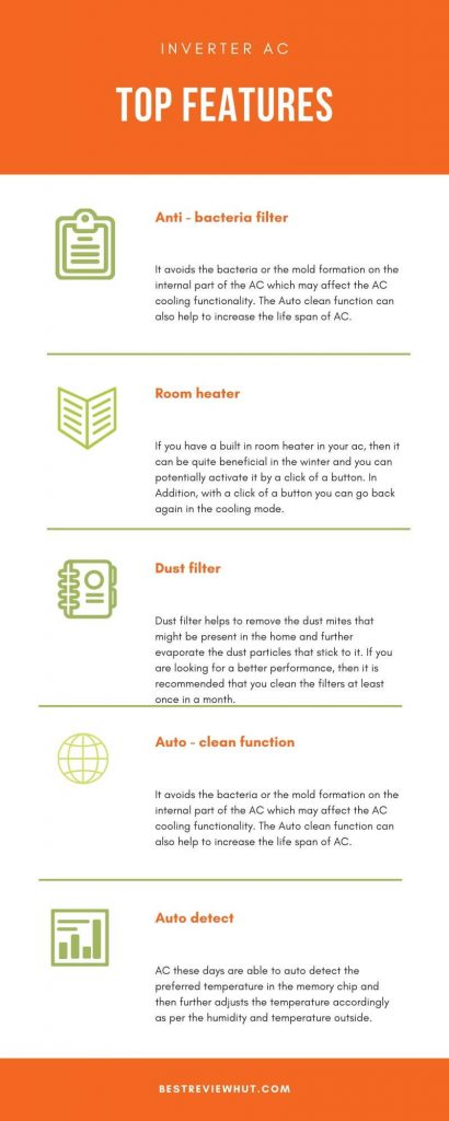 top features of inverter ac