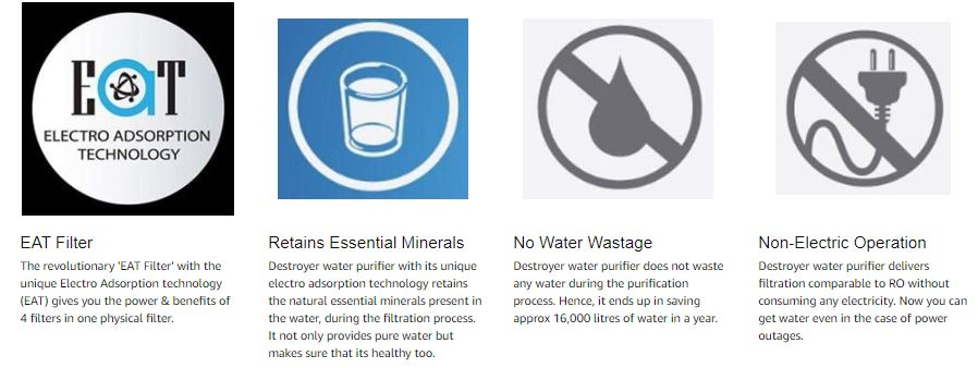 whirlpool non electric water purifier features