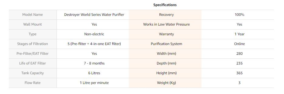 whirlpool without electricity water purifier specifications